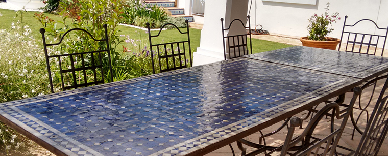 Blue and White Mosaic Table