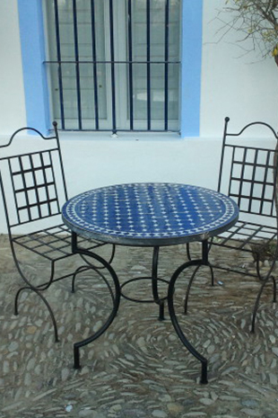 Mosaic Tables Kilim Cushion Pouffes Blue Moroccan Table